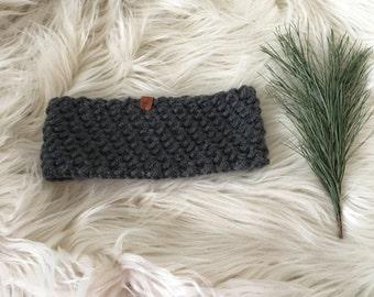 Ready to ship// charcoal grey ear warmer, winter headband, warm ear warmer, charcoal knitted ear warmer, gift for her, earwarmer, crochet