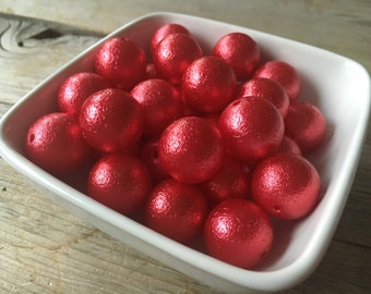 20mm Red Wrinkle Chunky Bead, Bubblegum Bead, Acrylic Bead, DIY Chunky Necklace, 10 Count