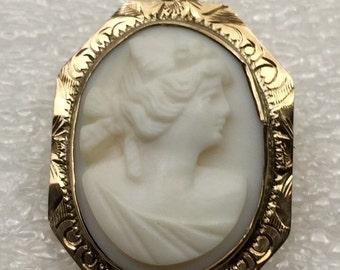 10kt gold Vintage Angel skin Cameo pin/ pendant