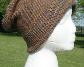 Alpaca and Cotton Hat in Brown and Blue