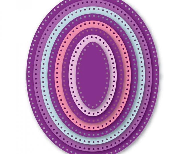 New! Sizzix Framelits Die Set 8PK - Dotted Ovals by Stephanie Barnard 661840