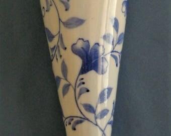 Wall Pocket Vase Blue and White Floral Design Andrea by Sadek Vintage