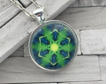 Blue and electric green kaleidoscope pendant necklace, abstract pendant necklace