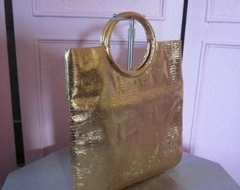 "1960s Metallic Gold Vinyl Tote Bag by ""JR"""