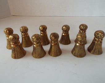 vintage set of  10 brass tassel place card holders wedding table placecard holder Elegant dining