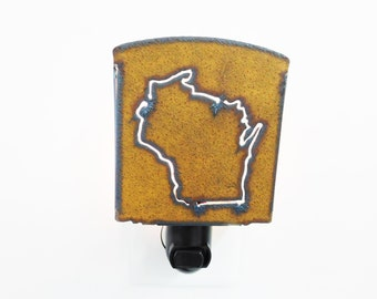 Wisconsin Night Light Image cut into rusted metal