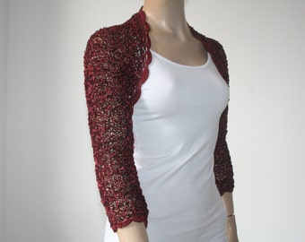 Burgundy kntting crochet shrug/ Wedding bolero shrug//Bolero jacket/Lace shrug/Bridal shoulders cover/Bridesmaids Cover up Bolero