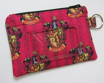 Harry Potter Hogwarts Gryffindor Keychain ID Wallet, Student / Teacher, Work ID, Badge Holder, Coin Purse - 2 Options for ID Pocket