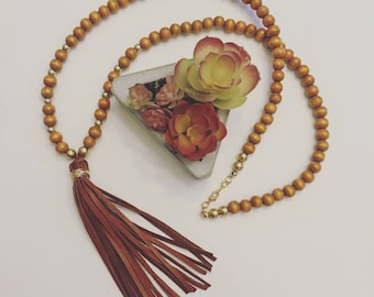 Brown Wood Bead and Leather Tassel Necklace