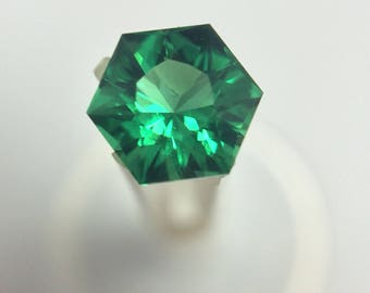 Helenite, Green Faceted Gemstone, Hexagon, Loose Green Gemstone, 1 CTW