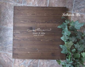 Wedding Guest Book Alternative Wood Sign - Personalized Wood Guest Book - Rustic Wedding Wood Sign - Choose Your Colors - MADE TO ORDER