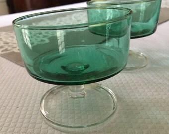Vintage set of 4 green sherbet dessert glasses with clear stem