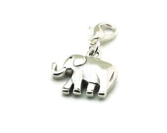 SALE Elephant Zipper Pull, Elephant Purse Charm, Elephant Clip Charm, Silver Clip On Charms