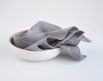 Linen classic napkins with mitered corners border set of 6, dusty lilac color linen cloth, dinner napkin, gift