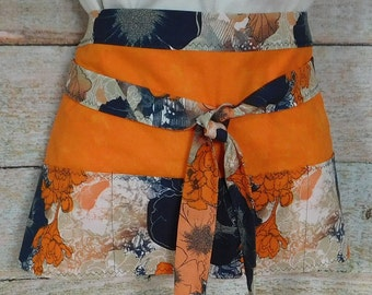 Orange and Navy Floral Utility Apron - Half Apron - Vendor Apron - Waitress Apron -Teacher Apron - Bartender Apron - Craft Apron