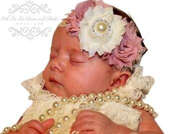 Dusty Rose Headband/Ivory Headband/Infant Headband/Baby Headband/Newborn Headband/Toddler Headband/Girls Headband/Flower Headband/Headband