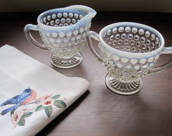 Vintage Fenton Creamer and Sugar Bowl Set in Moonstone Opalescent Hobnail Design