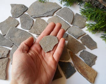Garden stone- Small stone plates- set of 10 Flat Rocks- 1 x 1 and 1 x 2 inches only- Mountain stone plates- rock plates- Beach Stone Supply