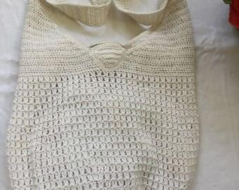 White Crochet Bucket Handbag Purse Shoulder Bag Strap Polyester and Cotton Unbranded Wonderful