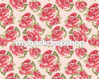 4ft x 4ft Pale Pink Floral Wallpaper Backdrop - Flower Backdrop for Photos - Pastel Pink and White Dot Flower Backdrop - Item 3164