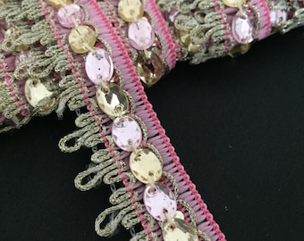 Pink and Gold Braided Trim for costumes, Dresses, cushions and craft projects.