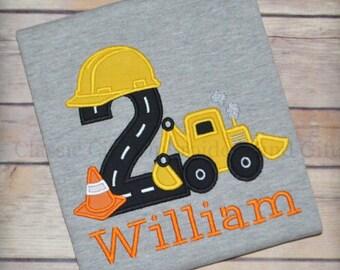 Construction digger birthday shirt, construction party, boy birthday shirt, toddler birthday, truck birthday, first birthday, second birthda