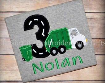 Garbage trash truck birthday shirt, first birthday, second birthday, third birthday, fourth birthday
