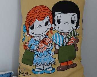 Vintage 'Love Is... Shopping Together' Tea Towel Cushion