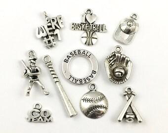9 baseball charms collection antique silver  #ENS A 601