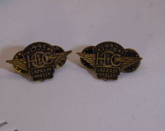 Ladies Of Harley Davidson Motor Cycle Brass Pins 1995 & 1996
