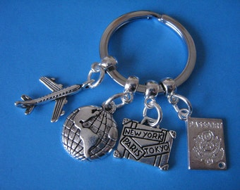 Travel Agent Keyring Gift for a Traveller Keychain Gift Passport Suitcase Aeroplane Charms