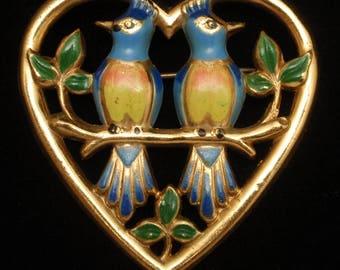 Enamel Lovebirds and Heart Brooch Pin Vintage