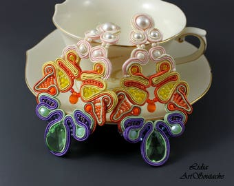 Mirabella -hand embroidered jewelry,soutache jewelry,beaded soutache,gift for her,gift,soutache earings