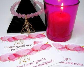 Love Manifesting Kit - Candle, Bracelet, Affirmation Cards, Love Spell