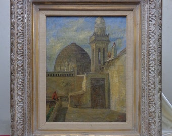 Signed & Framed Antique T. Robinson Middle Eastern Architecture Oil Painting