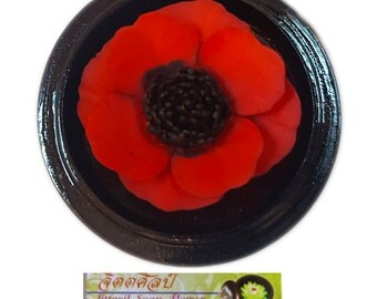 Handcarved Red Poppy - by Jittasil