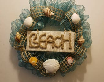 Beach Wreath - Burlap - Seashell - Deco Mesh