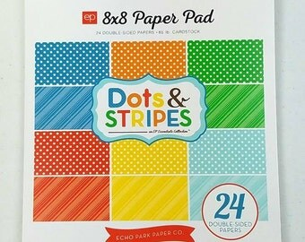 8x8 Paper Pad Summer Dots & Stripes by Echo Park 24 double sided papers, 65lb, Acid and Lignin Free DS15016