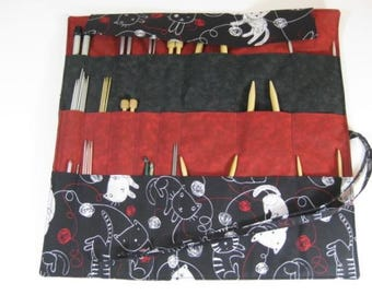 Cat Knitting Needle Case, Knitting Needle Organizer, Circular Knitting Needle Case