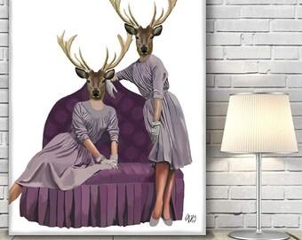 Wall art on canvas Large Wall art Canvas Art - Deer Twins deer art decor Deer print art Deer canvas art Deer decor Deer canvas print poster