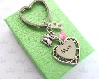 Mum keyring - Cute bunny gift - Mum Birthday gift - Rabbit keyring - Mother's Day gift - Bunny keyring - Personalised Mum gift - UK seller