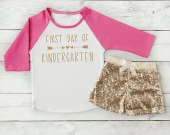 Girl Kindergarten Outfit, 1st Day of School Clothes for Girl Kindergarten Shirt 239
