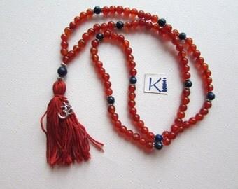 Carnelian Lapis Lazuli Mala Necklace 108 Beads Yoga Chanting Meditation