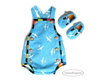 Baby boy romper, airplane romper, baby boy romper blue, romper baby boy, boy baby romper, blue baby romper, blue and white, turquoise blue