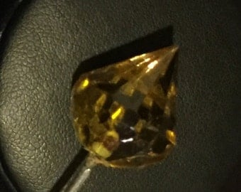 Faceted Glass Crystal Golden Yellow Hatpin