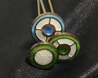 Set of 3 Guilloche Enamel Hatpins