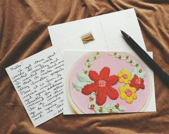 Postcard // Pink Floral Glossy Postcard of Original Hand Embroidered Art
