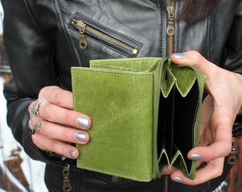 Apple Green small but spacious trifold leather wallet