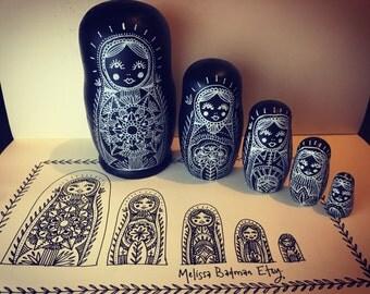 Handmade mandala Russian dolls