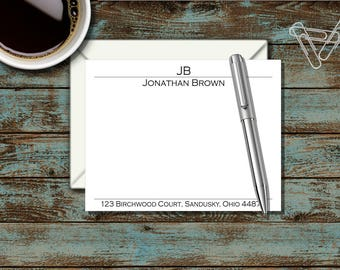 Personalized Stationary, Personalized Flat Notecard, Monogram Stationary, Professional, Last Name, Thank You Note, Correspondence, SS10
